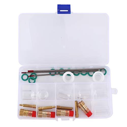aqxreight - Kit de accesorios de antorcha de soldadura TIG, 30pcs / set Kit de copa de vidrio para soldadura TIG Resistente al calor 4# 5# 6# 7# 8# 10# Accesorio para la serie WP-17 18 26