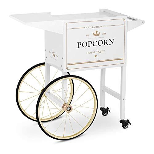 Royal Catering Carretto Per Macchina Per Pop Corn Carrello Pop-Corn RCPT-WGWG-1 (Bianco/Oro, 94 cm, 4 ruote)