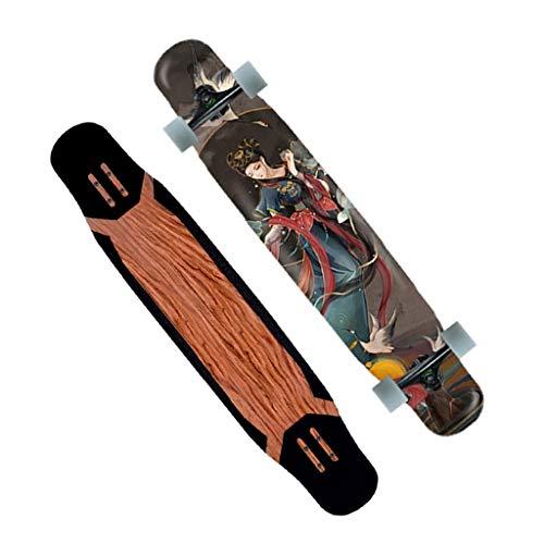 KHUY 46 Pulgadas Monopatin Longboard para Adulto Niños Niño Chica Niia Principiantes Longboards Completos Pro Skateboard Cruiser Doble Patada Concave para Deportes Extremos (Color : Style H)