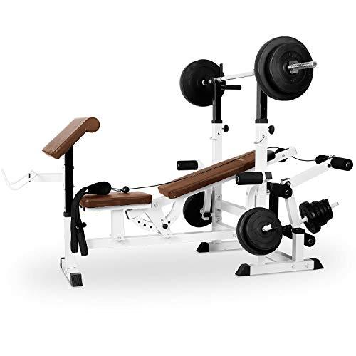 Klarfit Workout Hero 3000 - Banco de musculación multifunción, Entrenamiento con Cargas guiadas, Banco de Pesas, Press de banca, Remo, Curler piernas, Carga máxima 280 kg, Acero, Blanco floral