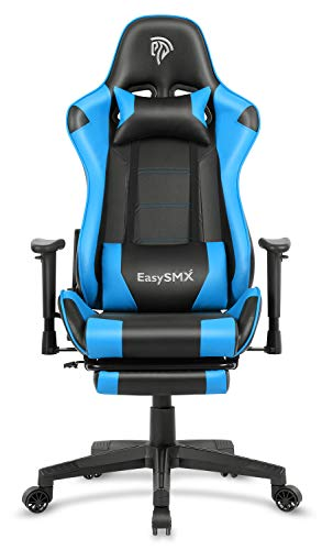 EasySMX Reclining Memory Foam Racing Gaming Chair, Ergonomic High-Back Racing Computer Desk Office Chair with Retractable Footrest and Adjustable Lumbar Cushion (Blue-Black) blue chair gaming