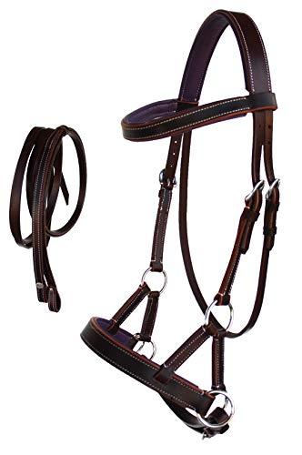 CHALLENGER Western Horse Leather BITLESS SIDEPULL Bridle REINS COB Chestnut Purple 7710PR-C