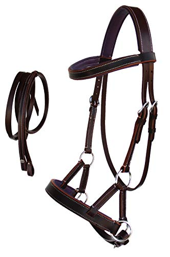 CHALLENGER Western Horse Leather BITLESS SIDEPULL Bridle REINS COB Chestnut Purple 7710PR-C
