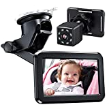 Itomoro Baby Car Mirror, Back Seat Baby Car Camera with HD Night Vision Function Car Mirror Display, Reusable Sucker Bracket, Wide View, 12V Cigarette Lighter, Easily Observe the Baby's Move