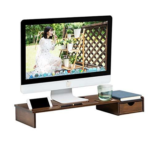 LICHUAN Estantes de escritorio de bambú para monitor de escritorio, organizador de almacenamiento para computadora con cajones, contenedor de escritorio para el hogar y la oficina
