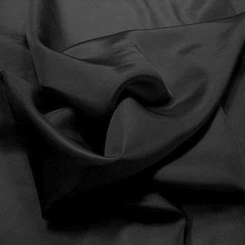 TOLKO 1m Futterstoff | Futter-Taft als Dekostoff universal Stoff zum Nähen Dekorieren | Blickdicht knitterarm dünn | 150cm breit Modestoff Hochzeitsstoff Kleiderstoff Kostümstoff Meterware (Schwarz)