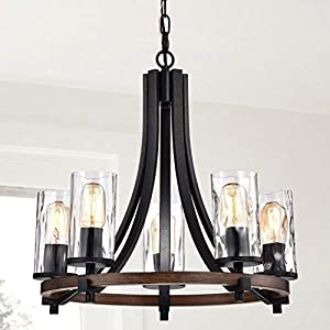 Modern Farmhouse Chandelier Suitable for Dining Room, Kitchen, Entryway and Foyer. Round Hanging Lamp Set Provides Ample Illumination. Rustic Candle Style Ceiling Light Fixture Creates Timeless Feel.