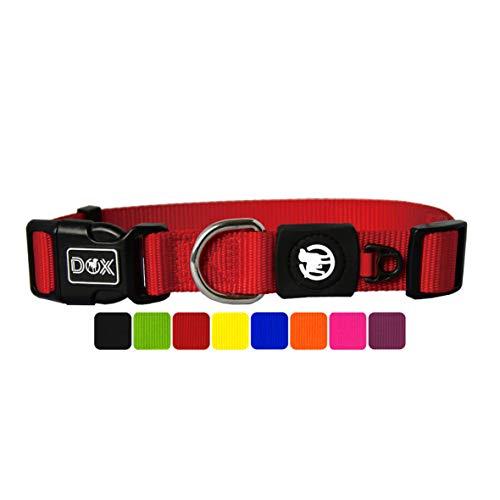 DDOXX Hundehalsband Nylon, verstellbar | viele Farben & Größen | für kleine & große Hunde | Halsband Hund Katze Welpe | Hunde-Halsbänder | Katzen-Halsband Welpen-Halsband klein | Rot, M