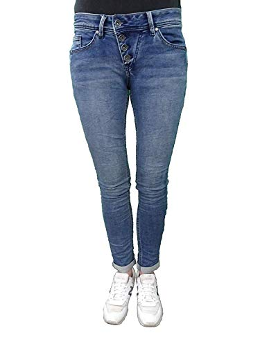 Buena Vista Damen Jeans Malibu Hose Jogghose Joggpants Sweat Denim (XL, Middle Blue)
