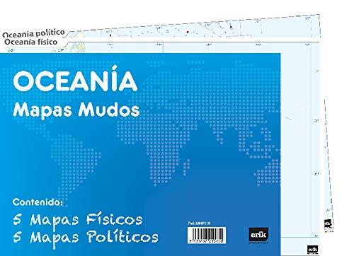 Grupo Erik - Pack 10 mapas mudos ES Oceanía (política, física) MMP119