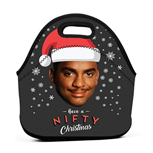 Carlton Banks Have A Nifty Christmas Fresh Prince Reusable Lunch Tote Bag Waterproof Picnic Lunch Box for School Road Walking and Office- Waterproof/Warm/Cooler
