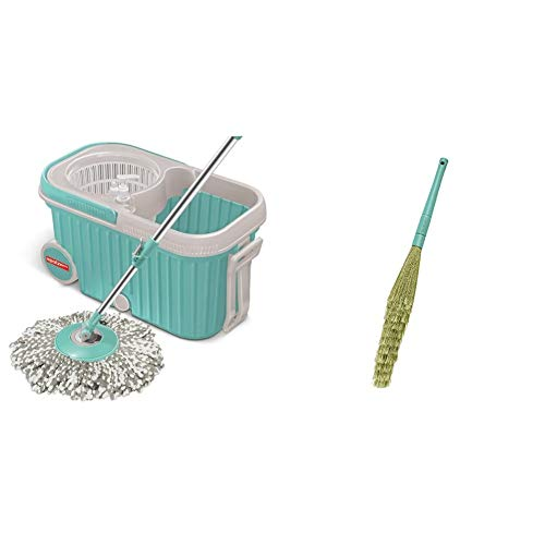 Spotzero by Milton Elite Spin Mop + Spotzero Zero Dust Floor Broom
