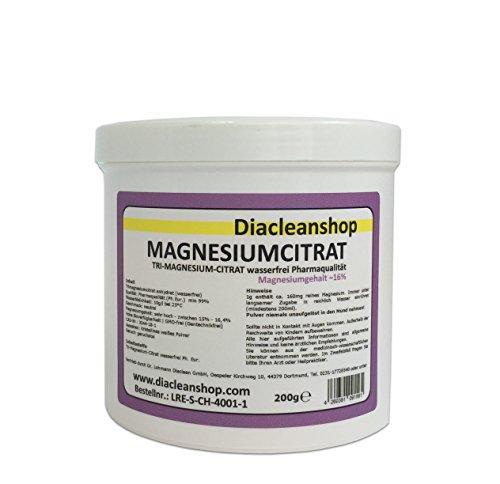 Magnesiumcitrat Pulver 200g - Tri-Magnesium-Citrat anhydrat - wasserfrei - Pharmaqualität aus Deutschland - hoher Magnesiumgehalt 16% - Gentechnikfrei - ohne Zusatzstoffe