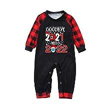 Conjunto de Familia Navidad Pijamas para Hombre Mujer Niños Niña Chica Bebe Parte Superior de Manga Larga Pijama Suave y Parte a Cuadros Pantalones 2 Piezas Otoño Invierno Ropa de Dormir para hogar