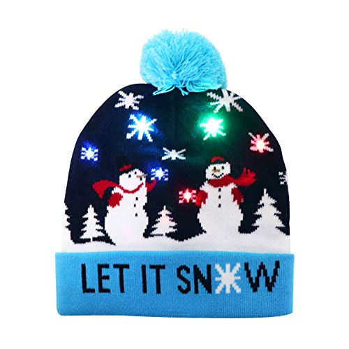 OurWarm Light Up Christmas Hat Snowman Ugly Christmas Beanie Hat with 6 Colorful LED Lights for Adults Xmas and New Year Party Supplies Blue