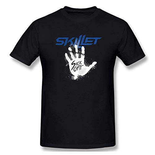 IUBBKI Men's Print with Skillet Sick of It Fashion Short Sleeve T-Shirt Black