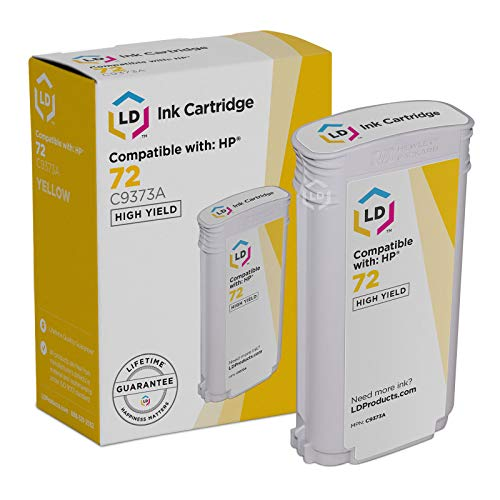 LD Remanufactured Ink Cartridge Replacement for HP 72 C9373A High Yield (Yellow)