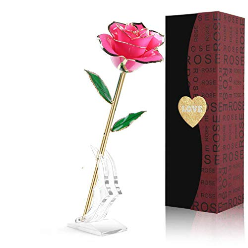 LOVLO 24K Pink Rose Flowers, Forever Gold Plated Dipped Rose, Everlasting Long Stem Rose Exquisite Holder,Romantic Gift for Valentine's Day,Mothers Day,Anniversary, Birthday
