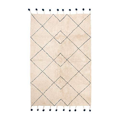 Nattiot ~ Tanvi vloerkleed katoen berber patronen pompons met franjes naturel/blauw 110x170