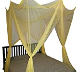 OctoRose 4 Poster Bed Canopy Functional Mosquito Net Full Queen King (Yellow)