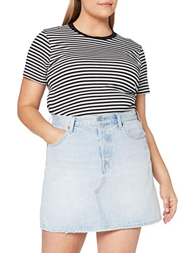 Levi's High Rise Deconstructed Iconic Button Fly Skirt Falda, Check Ya Leather, 30 para Mujer