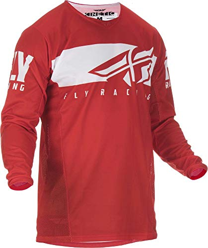 Fly Racing Mouche 2019 Cinétique Shield Jeunes Maillot (Rouge/Blanc) - Rouge, Blanc, X-Large