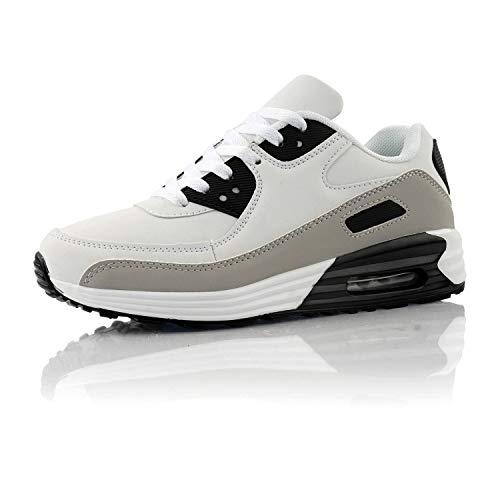 Fusskleidung® Damen Herren Sportschuhe Dämpfung Sneaker leichte Laufschuhe Weiß Grau Schwarz EU 42