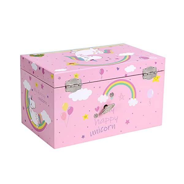 """SONGMICS Unicorn Ballerina Jewelry, Music Box with Pullout Drawer, Ring Slots and Divided Compartments, 7.5""""L x 4.3""""W x… 4"""
