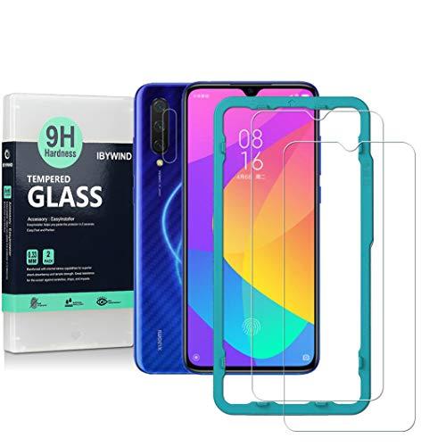 Ibywind Displayschutzfolie für das Xiaomi Mi 9 Lite [2 Stück] mit Panzerglasschutz für die Kameralinse, Carbon Fiber Skin für die Rückseite, Inklusive Easy Install Kit (Zentrierrahmen)