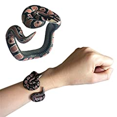 ❤Toy snake black prank stuff rubber cobra snake fake snakes that look real, A great halloween decoration, or a scary gift for your friends. ❤Durable rubber. bracelet handmade painted PVC Material Toy.Not very flexible,it CAN'T lay straight. ❤Funny gi...