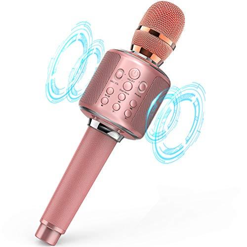 Karaoke Mikrofon Bluetooth, Kinder Mikrofon mit Lautsprecher Kompatibel mit Android & IOS (Roségold)