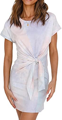 EUDOLAH Damklänning casual klänning i midjan elegant klänning kort ärm kimonoklänning(S,Vit)