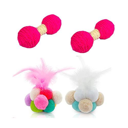 NA Lot de 4 balles de chat colorées avec plumes et cloches pour animal domestique interactif pour intérieur et extérieur (couleur aléatoire)