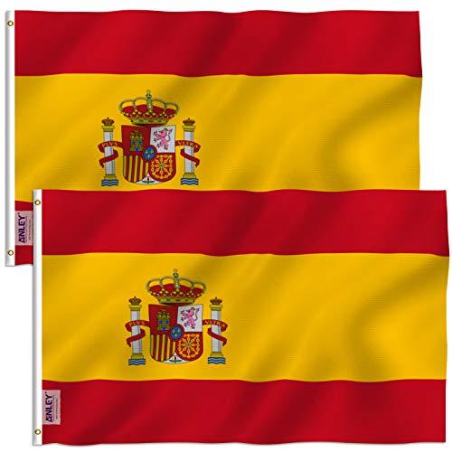 Anley - Bandera de España de 3 x 5 pies, 2 unidades, resistente a la decoloración UV, cabecera de lona y doble costura, bandera nacional española de poliéster con ojales de latón, 3 x 5 pies