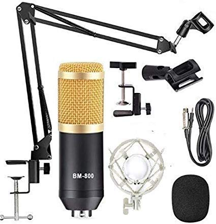 SlideNBuy® Condenser Microphone Bundle, BM-800 Mic Kit New Yati NB35 1) Shock Mount + (1) Ball-type Anti-wind Foam Cap + (1) Microphone Power Cable + (1) Adjustable Mic Suspension Scissor Arm (Gold)