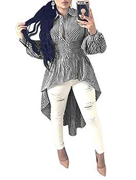 Ophestin Women Stripe Print Long Sleeve Bodycon High Low Asymmetrical Button Down Shirt Blouse Top Black XL