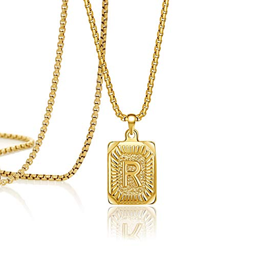 Joycuff Initial Necklace for Women Pendant Necklaces 16 18 20 22 24 Inched Trendy Handmade Square Stainless Steel Jewelry Birthday