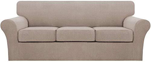 Gramke Fundas de sofá elásticas de 4 Piezas Que Incluyen la Funda de la Base y 3 Fundas de cojín de Asiento Individuales con Protector de Muebles de Tela Jacquard más Gruesa Mejorada, Color Arena