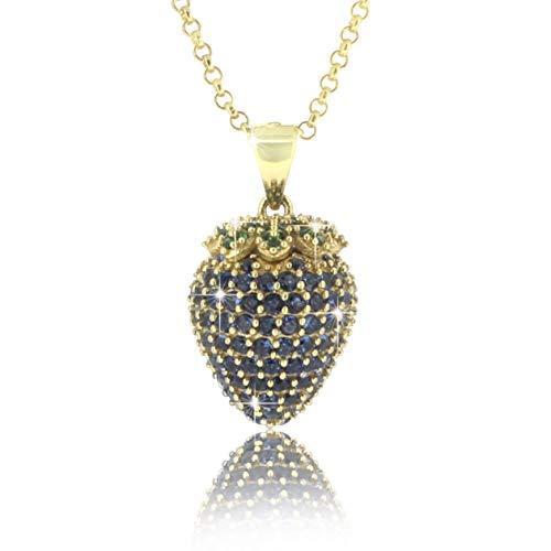 PAVEL UZS halsketting AARDBEIEN BLAUW 18 karaat goud geplateerde ketting met aardbeihanger met blauwe en groene zirkonia stenen in AAA-kwaliteit incl. sieradendoos en certificaat van echtheid