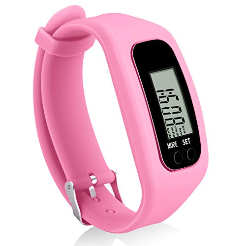 Bomxy Fitness Tracker Watch, Simply Operation Walking Running Pedometer with Calorie Burning and Steps Counting (419-pink)