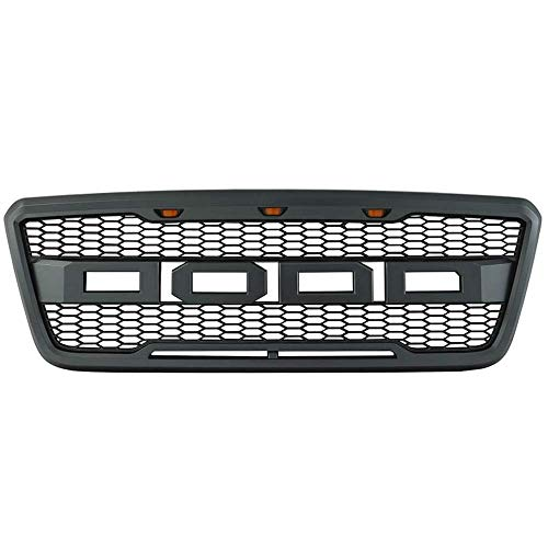 Packaged Grille Compatible With 2004-2008 Ford F-150 Models, New Raptor Style Charcoal Gray ABS Front Bumper Grille Hood Mesh Guard by IKON MOTORSPORTS, 2005 2006 2007
