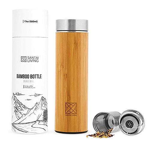 Santai Living Thermo Tazza bambù Infusore Frutta e tè | 500 ml bombola Isolante con Filtro del tè | (18/8) Acciaio Inox interiore Thermo flacone a Dop