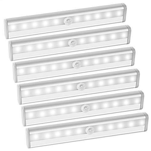 AMIR LED Schrankbeleuchtung, Nachtlicht mit Bewegungsmelder, 10 LED Batterie Bewegungsmelder, Auto On/Off Schranklicht Led für Schlafzimmer, Küche, Gang, Schubfach, usw. (6 Packs - Weiß)