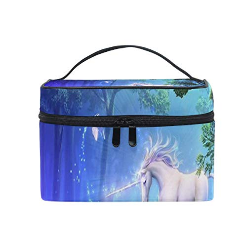 Trousse de maquillage Licorne Beaux Oiseaux Cosmétique Sac Portable Grand Trousse de Toilette pour Femmes/Filles Voyage
