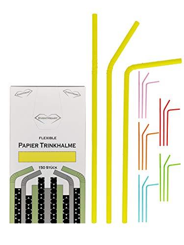 EventHeart - 150 cannucce di carta flessibili in tinta unita, lunghezza 24 cm, biodegradabili (giallo)