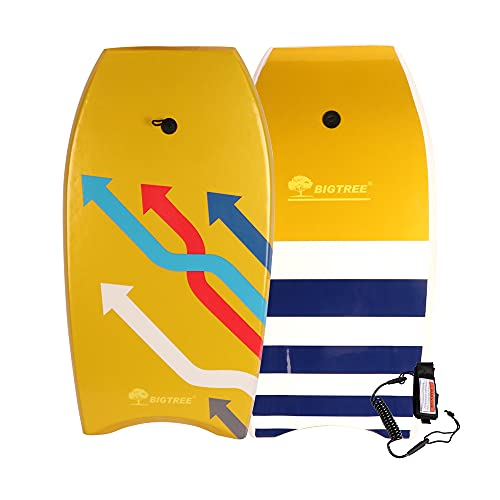 Panda Eye Bodyboard, Lightweight Boogie Board with Coiled Wrist Leash, EPS Core Smooth Top Deck and High-Speed HDPE Slick Bottom Durable, Surfing for Kids and Adults 37in/41in (37in Multi-Arrows)