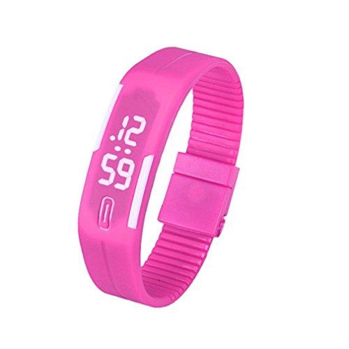 Bracciale Orologio, tefamore Unisex Gomma LED Watch Data braccialetto di sport orologio da polso digitale, Rosa