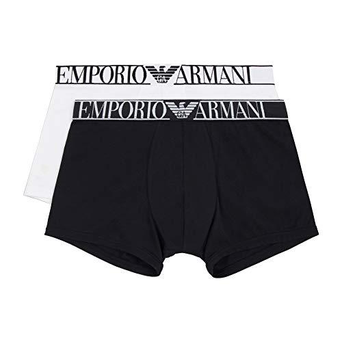 Emporio Armani Underwear 2-Pack-Trunk Endurance Bañador, Negro/Blanco, L para Hombre