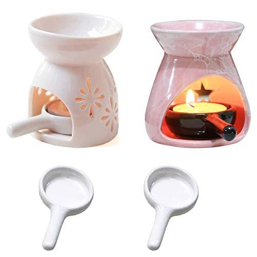 Xiuyer 2 Duftlampe Keramik Gemustert 2 Kerzenlöffel Aushöhlen Kerzenhalter Aromalampe für Aromaölwachs Schmilzt Home Office