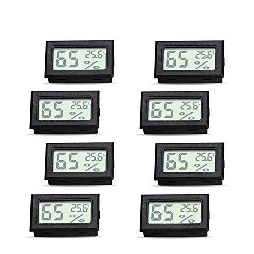 Landzhou Mini Digital Thermo-Hygrometer 8 PCS, Hygrometer Innen Thermometer Raumthermometer Luftfeuchtigkeitsmessgerät für Tragbar und einfach zu bedienen (Schwarz)